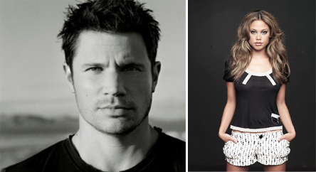 (Pictured: Nick Lachey appears in a photo posted on his Twitter page. / Vanessa Minnillo appears in a photo posted on her website.)