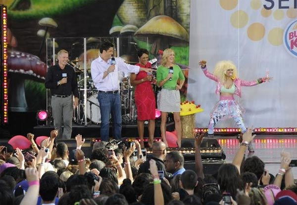 "<div class=""meta image-caption""><div class=""origin-logo origin-image ""><span></span></div><span class=""caption-text"">Nicki Minaj performs on 'Good Morning America' on ABC on Friday, Aug. 5, 2011. (ABC / Ida Mae Astute)</span></div>"