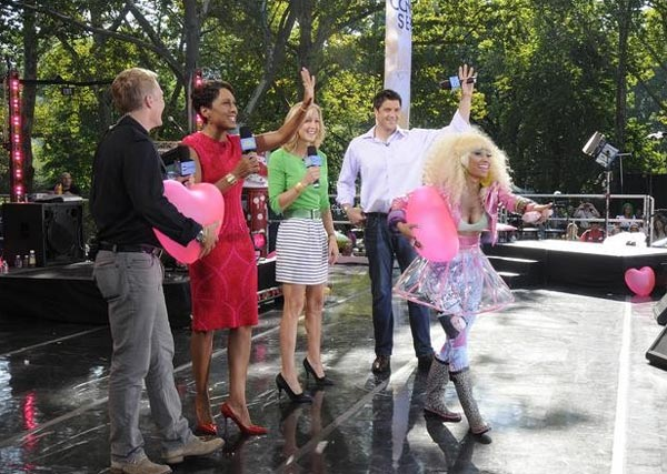 "<div class=""meta ""><span class=""caption-text "">Nicki Minaj appears alongside the hosts of 'Good Morning America' on ABC on Friday, Aug. 5, 2011. (ABC / Ida Mae Astute)</span></div>"