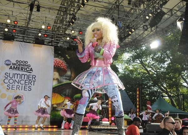 "<div class=""meta ""><span class=""caption-text "">Nicki Minaj performs on 'Good Morning America' on ABC on Friday, Aug. 5, 2011. (ABC / Ida Mae Astute)</span></div>"