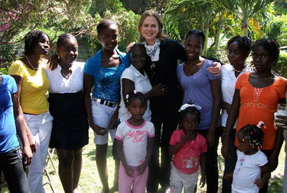 Nicole Kidman appears in a photo from a trip she took to Haiti where she visited young students in 2010.