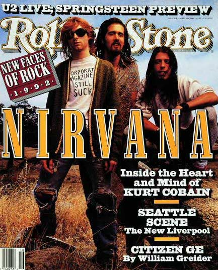 Members of Nirvana appear on the cover of Rolling Stone in 1992.
