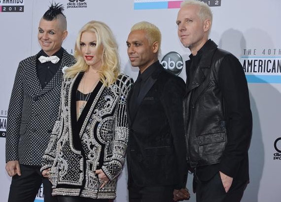 No Doubt, including Gwen Stefani, appear on the red carpet at the 2012 American Music Awards (AMAs) in L.A. on Nov. 18, 2012.