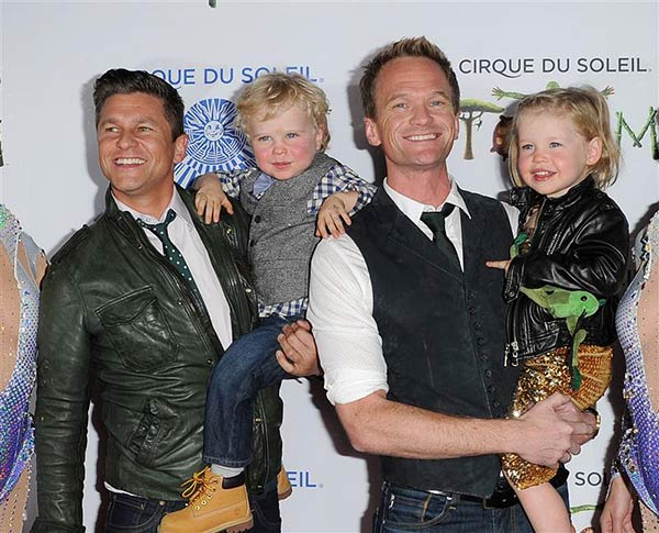 Neil Patrick Harris and partner David Burtka appear with their twins Gideon and Harper at the premiere performance of Cirque du Soleil&#39;s &#39;Totem&#39; in Santa Monica, California on Jan. 21, 2014. The two have been together since 2004. <span class=meta>(Daniel Robertson &#47; Startraksphoto.com)</span>