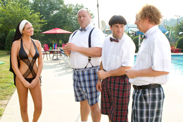 The Three Stooges, Curly &#40;Will Sasso, left&#41;, Moe &#40;Chris Diamantopoulos, middle&#41; and Larry &#40;Sean Hayes&#41; don&#39;t know quite know what to make of the &#39;nunkini&#39; worn by Sister Bernice &#40;Kate Upton&#41; in this scene from the 2012 film &#39;The Three Stooges.&#39; <span class=meta>(Twentieth Century Fox Film Corporation)</span>