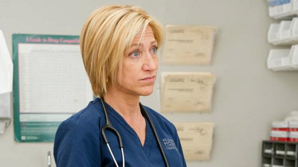 "<div class=""meta ""><span class=""caption-text "">Edie Falco, who plays Jackie Peyton in the Showtime medical drama 'Nurse Jackie,' turns 49 on July 5, 2012. The four-time Emmy winner is also known for her role as Carmela Soprano on the HBO series 'The Sopranos.'  (Pictured: Edie Falco appears in a scene from the show 'Nurse Jackie' in 2012.) (David M. Russell / Showtime)</span></div>"