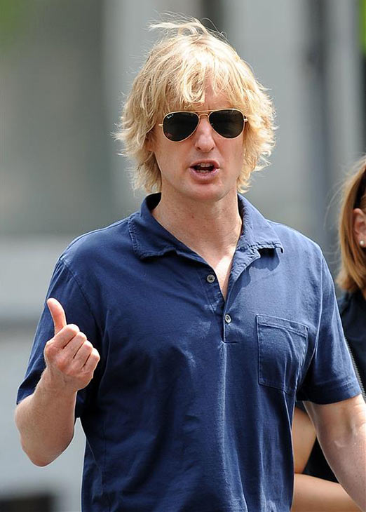 Owen Wilson appears on the New York City set of the 2014 movie &#39;Squirrels To The Nuts&#39; on July 24, 2013. <span class=meta>(Humberto Carreno &#47; Startraksphoto.com)</span>