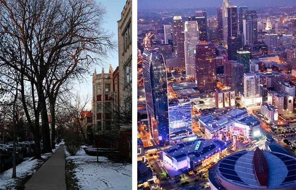 Pictured: On the left is a still image of Oak Park, IL. On the right is a photo of Downtown Los Angeles, CA.