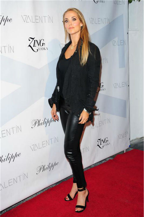 'Dancing With The Stars'  season 17 contestant and actress Elizabeth Berkley attends a launch party for VALENTIN, her show partner Val Chmerkovskiy's urban streetwear couture brand clothing line, in Los Angeles on Oct. 17, 2013.