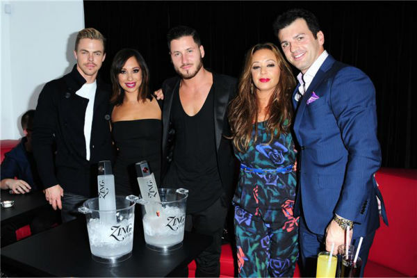 "<div class=""meta ""><span class=""caption-text "">L-R: 'Dancing With The Stars' pro dancers Derek Hough, Cheryl Burke and Val Chmerkovsky and celebrity contestant Leah Remini and her partner, Tony Dovolani, attend a launch party for VALENTIN, Chmerkovskiy's urban streetwear couture brand clothing line, in Los Angeles on Oct. 17, 2013. (Michael Simon / Startraksphoto.com)</span></div>"