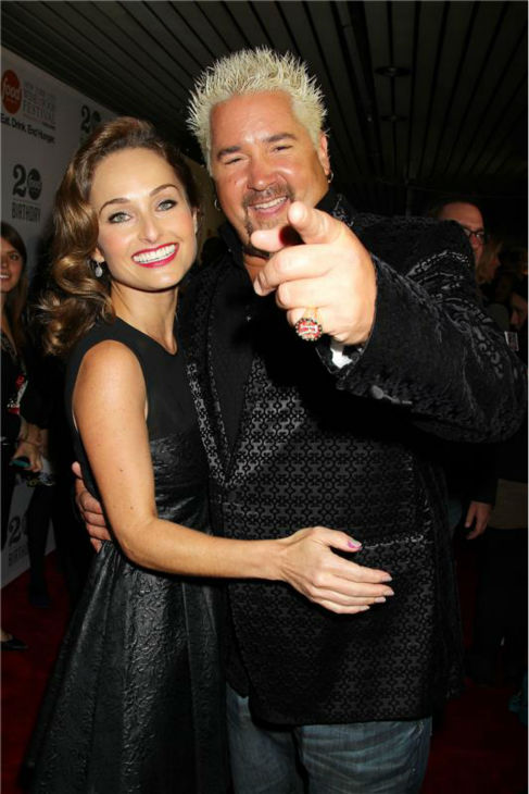 Giada De Laurentiis and Guy Fieri attend the Food Network&#39;s 20th birthday bash at the New York City Food and Wine Festival at Pier 92 on Oct. 17, 2013. <span class=meta>(Dave Allocca &#47; Startraksphoto.com)</span>