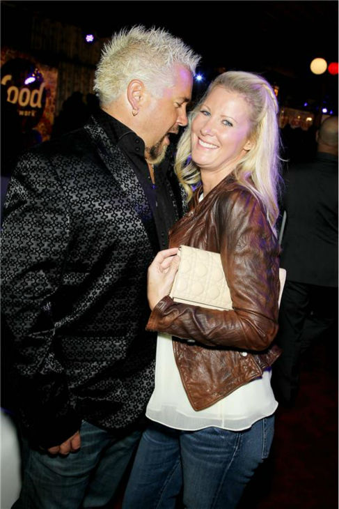 "<div class=""meta ""><span class=""caption-text "">Guy Fieri and Sandra Lee attend the Food Network's 20th birthday bash at the New York City Food and Wine Festival at Pier 92 on Oct. 17, 2013. (Marion Curtis / Startraksphoto.com)</span></div>"