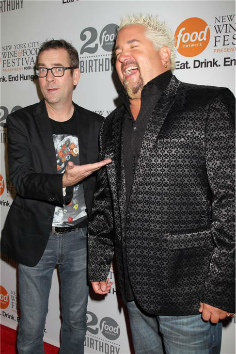 &#39;Chopped&#39; host Ted Allen and Guy Fieri attend the Food Network&#39;s 20th birthday bash at the New York City Food and Wine Festival at Pier 92 on Oct. 17, 2013. <span class=meta>(Dave Allocca &#47; Startraksphoto.com)</span>