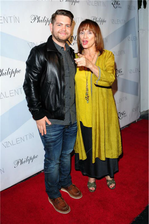Jack Osbourne and eliminated contestant and actress Valerie Harper attend a launch party for VALENTIN, Val Chmerkovskiy's urban streetwear couture brand clothing line, in Los Angeles on Oct. 17, 2013.