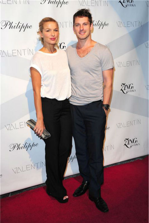 'Dancing With The Stars' pro dancer Tristan MacManus and fiancee Tahyna Tozzi attend a launch party for VALENTIN, his co-star Val Chmerkovskiy's urban streetwear couture brand clothing line, in Los Angeles on Oct. 17, 2013.