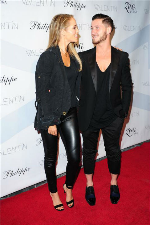 'Dancing With The Stars' season 17 contestant and actress Elizabeth Berkley and show partner Val Chmerkovskiy attend a launch party for VALENTIN, the pro dancer's urban streetwear couture brand clothing line, in Los Angeles on Oct. 17, 2013.
