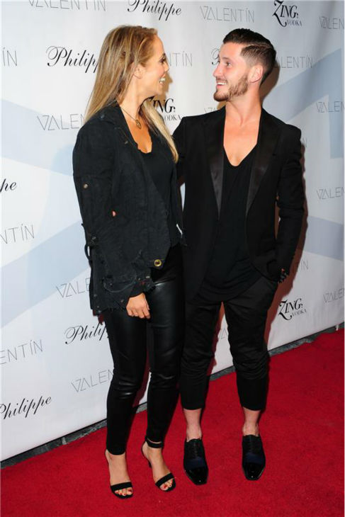 &#39;Dancing With The Stars&#39; season 17 contestant and actress Elizabeth Berkley and show partner Val Chmerkovskiy attend a launch party for VALENTIN, the pro dancer&#39;s urban streetwear couture brand clothing line, in Los Angeles on Oct. 17, 2013. <span class=meta>(Michael Simon &#47; Startraksphoto.com)</span>