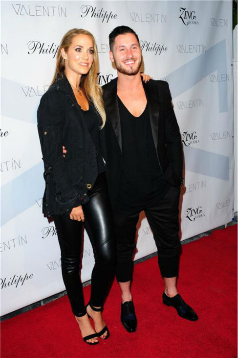'Dancing With The Stars' pro dancer Val Chmerkovskiy and celebrity partner Elizabeth Berkley attend a launch party for VALENTIN, Chmerkovskiy's urban streetwear couture brand clothing line, in Los Angeles on Oct. 17, 2013.