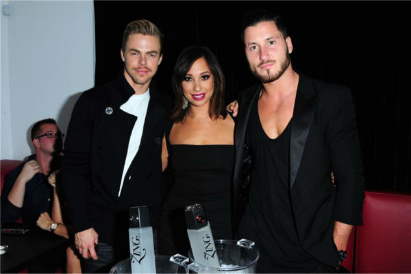 'Dancing With The Stars' pro dancers Derek Hough, Cheryl Burke and Val Chmerkovskiy attend a launch party for VALENTIN, Chmerkovskiy's urban streetwear couture brand clothing line, in Los Angeles on Oct. 17, 2013.