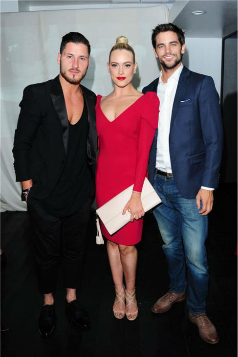 &#39;Dancing With The Stars&#39; pro dancers Val Chmerkovskiy and Peta Murgatroyd and her celebrity partner Brant Daugherty of &#39;Pretty Little Liars&#39; fame attend a launch party for VALENTIN, Chmerkovskiy&#39;s urban streetwear couture brand clothing line, in Los Angeles on Oct. 17, 2013. <span class=meta>(Michael Simon &#47; Startraksphoto.com)</span>
