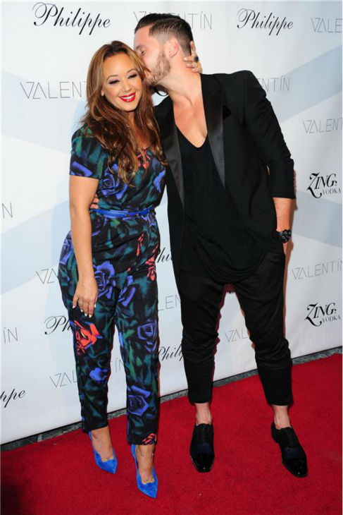 'Dancing With The Stars' pro dancer Val Chmerkovskiy and season 17 contestant and actress Lea Remini attend a launch party for VALENTIN, Chmerkovskiy's urban streetwear couture brand clothing line, in Los Angeles on Oct. 17, 2013.