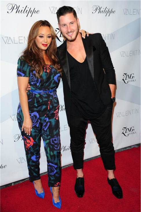 'Dancing With The Stars' pro dancer Val Chmerkovskiy and season 17 celebrity contestant Leah Remini attend a launch party for VALENTIN, Chmerkovskiy's urban streetwear couture brand clothing line, in Los Angeles on Oct. 17, 2013.