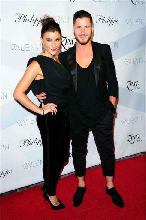 Valentin Chmerkovskiy and Nicole Volynets attend a launch party for VALENTIN, an urban streetwear couture brand clothing line they co-founded, in Los Angeles on Oct. 17, 2013.