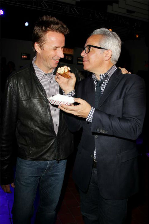 &#39;Chopped&#39; co-judges Mark Murphy and Geoffrey Zakarian attend the Food Network&#39;s 20th birthday bash at the New York City Food and Wine Festival at Pier 92 on Oct. 17, 2013. <span class=meta>(Amanda Schwab &#47; Startraksphoto.com)</span>