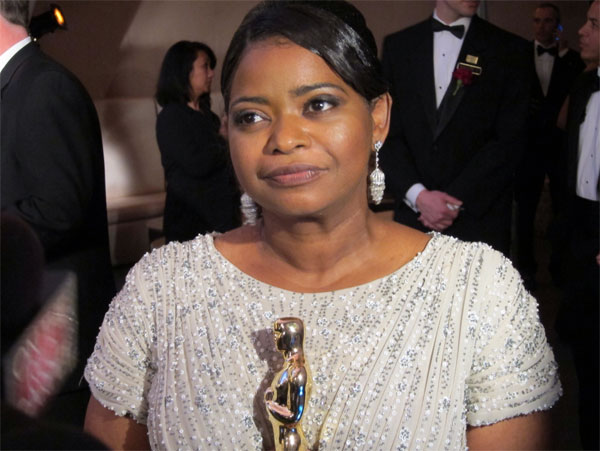 Octavia Spencer, winner of the 2012 Oscar for Actress in a Supporting Role for her performance in 'The Help,' talks to OnTheRedCarpet.com after the 2012 Academy Awards in Los Angeles on Feb. 26, 2012.