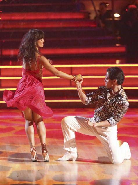 Apolo Anton Ohno and Karina Smirnoff appear in a still from 'Dancing With The Stars: All-Stars' on October 16, 2012.