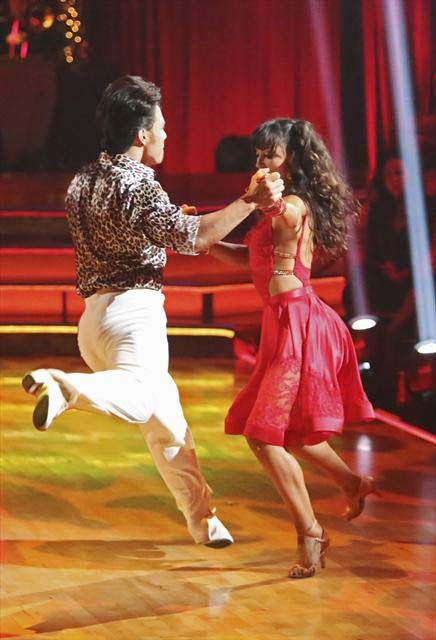 "<div class=""meta ""><span class=""caption-text "">Olympic speed skater Apolo Anton Ohno and his partner Karina Smirnoff received 27 out of 30 points from the judges for their Samba on 'Dancing With The Stars: All-Stars,' which aired on October 23, 2012. (ABC Photo)</span></div>"