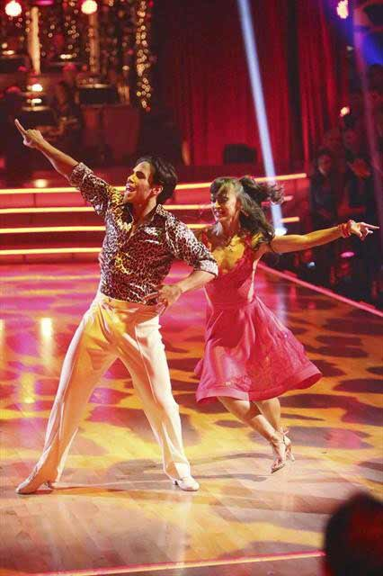 Apolo Anton Ohno and Karina Smirnoff appear in a still from 'Dancing With The Stars: All-Stars' on October 23, 2012.