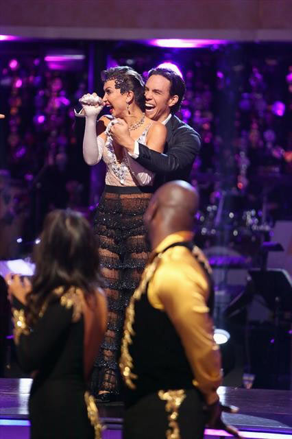 Olympic speed skater Apolo Anton Ohno, his partner Karina Smirnoff, Olympic gymnast Shawn Johnson and her partner Derek Hough  react to being safe from elimination on 'Dancing With The Stars: The Results Show' on Tuesday, Oct. 9, 2012.