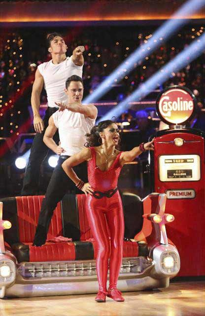 Olympic speed skater Apolo Anton Ohno and his dance partners Karina Smirnoff and Sasha Farber received 29 out of 30 points from the 