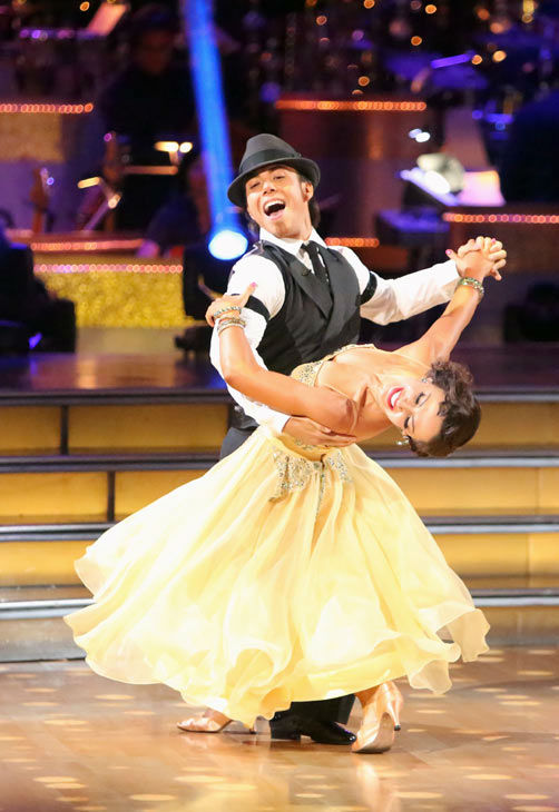"<div class=""meta ""><span class=""caption-text "">Olympic speed skater Apolo Anton Ohno and his partner Karina Smirnoff received 24.5 out of 30 points from the judges for their Quickstep on week two of 'Dancing With The Stars: All-Stars,' which aired on Oct. 1, 2012. (ABC / Adam Taylor)</span></div>"