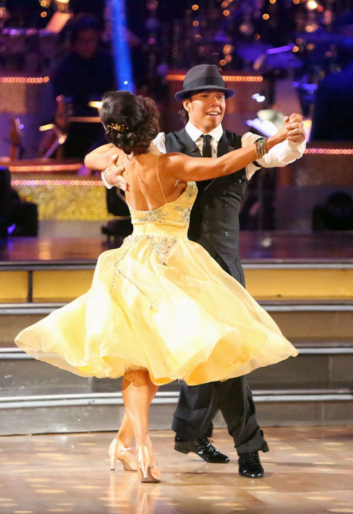 "<div class=""meta image-caption""><div class=""origin-logo origin-image ""><span></span></div><span class=""caption-text"">Olympic speed skater Apolo Anton Ohno and his partner Karina Smirnoff received 24.5 out of 30 points from the judges for their Quickstep on week two of 'Dancing With The Stars: All-Stars,' which aired on Oct. 1, 2012. (ABC / Adam Taylor)</span></div>"