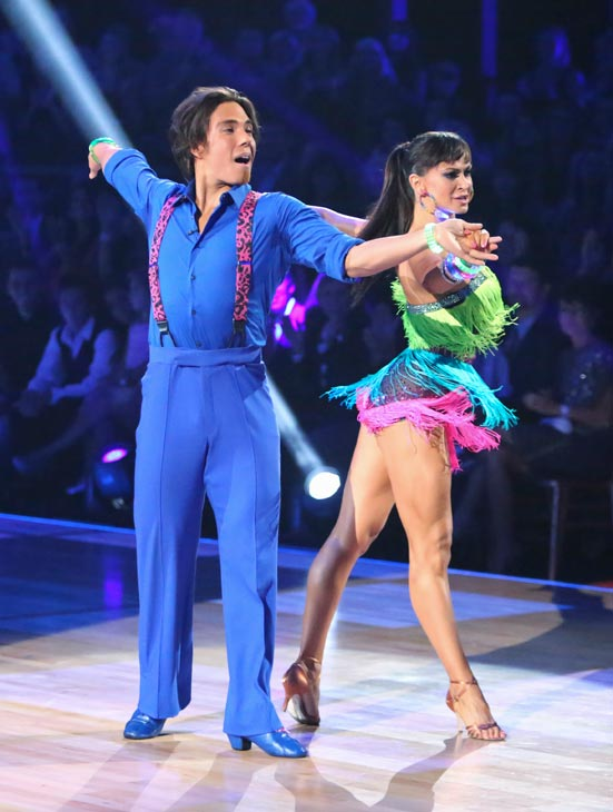 Apolo Anton Ohno and Karina Smirnoff appear in a still from 'Dancing With The Stars: All-S