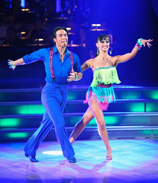 Apolo Anton Ohno and Karina Smirnoff appear in a still from 'Dancing