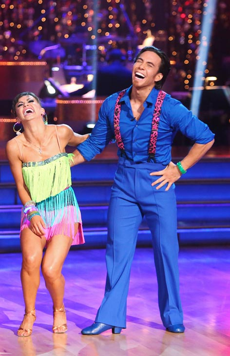 "<div class=""meta ""><span class=""caption-text "">Olympic speed skater Apolo Anton Ohno and his partner Karina Smirnoff received 22 out of 30 points from the judges for their Cha Cha Cha on the season premiere of 'Dancing With The Stars: All-Stars,' which aired on September 24, 2012.  (ABC / Adam Taylor)</span></div>"