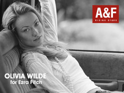 Olivia Wilde appears in an ad for Abercrombie and Fitch.