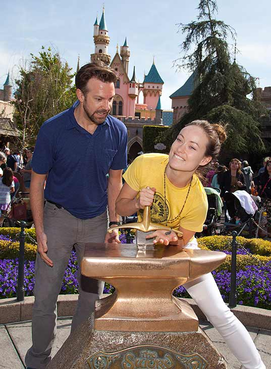 "<div class=""meta ""><span class=""caption-text "">Newly-engaged couple Olivia Wilde and Jason Sudeikis try their luck at removing the 'Sword in the Stone' at Disneyland park in Anaheim, California on Tuesday, March 26, 2013. This was Wilde's first visit to a Disney theme park.  (Paul Hiffmeyer / Disneyland)</span></div>"