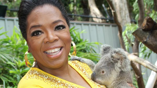 Oprah Winfrey and Elvis the koala appear in a...