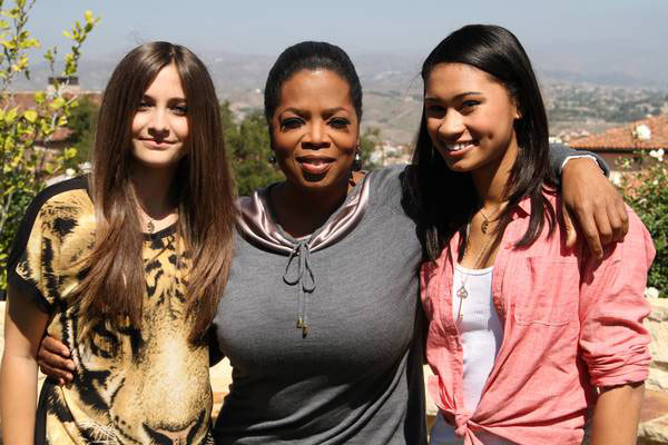 Paris Jackson (left), poses with Oprah Winfrey