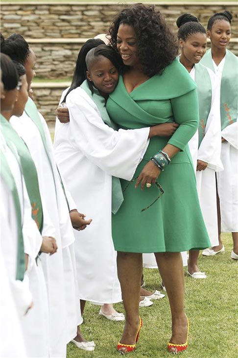 Oprah Winfrey hugs a student at the graduation of the Oprah Winfrey Leadership Academy for Girls on Dec. 1, 2012 in Johannesburg, South Africa. This is the second class to graduate from the academy. <span class=meta>(Gallo Images &#47; Startraksphoto.com)</span>