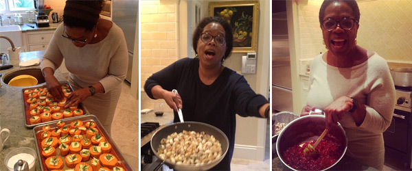 Oprah Winfrey Tweeted these photos the two days before Thanksgiving: The caption of the photo on the left read: &#39;Sweet potatoes with Freshly picked rosemary. It&#39;s beginning to look a lot like THAaaanksgivvving!&#39;  The center picture&#39;s caption read: &#39;Carmelized onions so pretty they make me sing! Getting ready for Turkey day. Kitchen smells like HOME.&#39;  The right photo&#39;s caption read: &#39;Making cranberry sauce . Boil the berries in orange juice. Add cinnamon, cloves, ALLspice and chill. Happy THAaaanksgivvvving!.&#39; <span class=meta>(twitter.com&#47;Oprah&#47;status&#47;271433248998043648 &#47; instagram.com&#47;p&#47;ST1L4LyS0D&#47; instagram.com&#47;p&#47;SRWxm8SS6s&#47; instagram.com&#47;p&#47;SUG024SSzz&#47;)</span>
