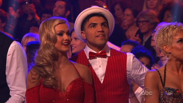 Boxer Victor Ortiz and partner Lindsay Arnold prepare to dance on week 2 of &#39;Dancing With The Stars,&#39; which aired on March 25, 2013. <span class=meta>(ABC Photo &#47; Adam Taylor)</span>