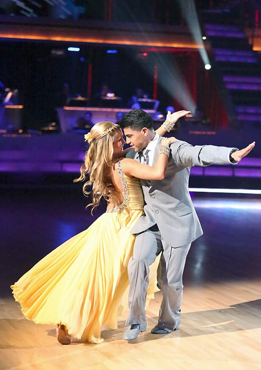 "<div class=""meta image-caption""><div class=""origin-logo origin-image ""><span></span></div><span class=""caption-text"">Boxer Victor Ortiz and his partner Lindsay Arnold received 18 out of 30 points from the judges for their Foxtrot routine on the season premiere of 'Dancing With The Stars,' which aired on March 18, 2013. (ABC Photo / Adam Taylor)</span></div>"