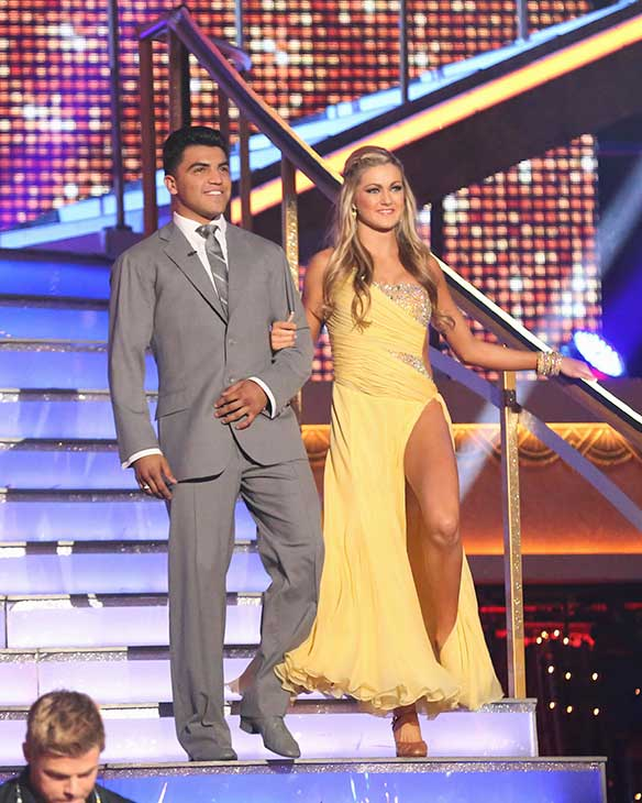 Boxer Victor Ortiz and partner Lindsay Arnold prepare to dance on the season premiere of &#39;Dancing With The Stars,&#39; which aired on March 18, 2013. They received 18 out of 30 points from the judges for their Foxtrot routine. <span class=meta>(ABC Photo &#47; Adam Taylor)</span>