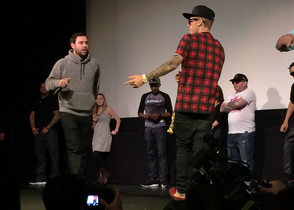 Justin Bieber appears at a screening of his new movie &#39;Believe&#39; on Dec. 16, 2013. He handed out toys to several Beliebers at the event, sponsored by Radio Disney, as part of the Spark of Love intiative of KABC Television and the Southern California Firefighters. <span class=meta>(OTRC)</span>