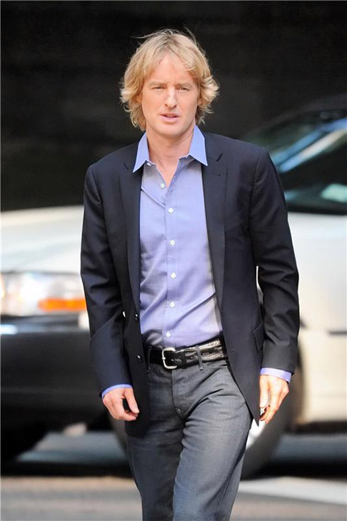 Owen Wilson appears on the New York City set of the 2014 movie &#39;Squirrels To The Nuts&#39; on July 16, 2013. <span class=meta>(Ken Katz &#47; Startraksphoto.com)</span>